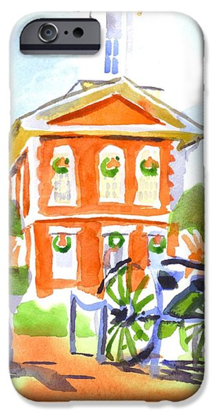 Business Paintings iPhone Cases - Christmas Courthouse II iPhone Case by Kip DeVore