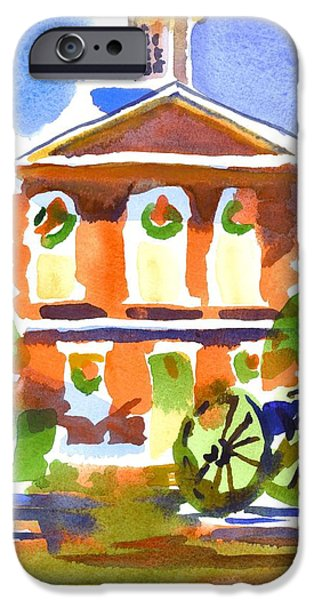 Business Paintings iPhone Cases - Christmas Courthouse iPhone Case by Kip DeVore