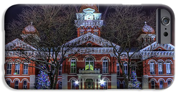 Lake County iPhone Cases - Christmas Courthouse iPhone Case by Scott Wood