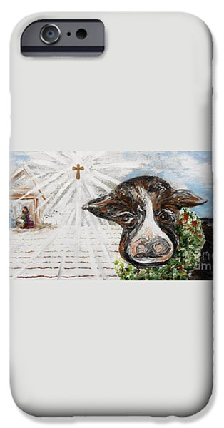 Christmas Cow - Oh to Have Been There... iPhone Case by Eloise Schneider