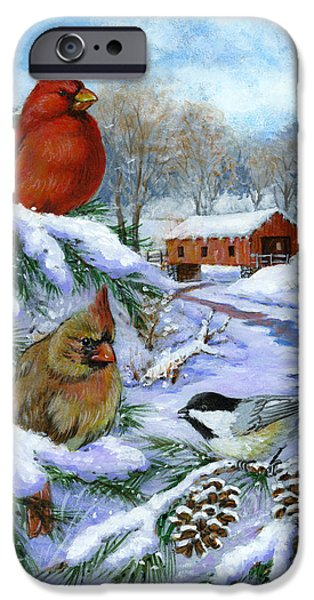 Covered Bridge Paintings iPhone Cases - Christmas Creek iPhone Case by Richard De Wolfe