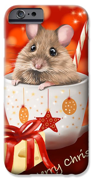 Digital Paintings iPhone Cases - Christmas cup iPhone Case by Veronica Minozzi