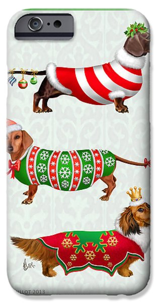 Dachshund Digital Art iPhone Cases - Christmas Dachshunds iPhone Case by Michelle Guillot