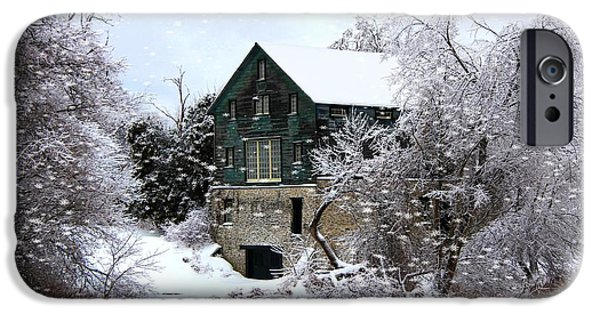 Grist Mill Mixed Media iPhone Cases - Christmas Day At The Grist Mill iPhone Case by Davandra Cribbie
