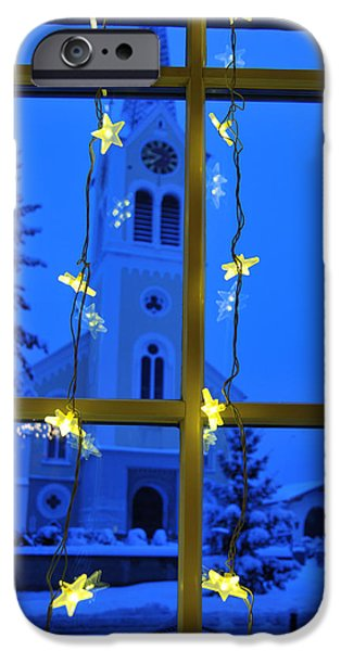 Christmas decoration - yellow stars and blue church iPhone Case by Matthias Hauser