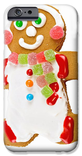 Christmas Greeting iPhone Cases - Gingerbread Man Dressed in White with Gumdrops iPhone Case by Vizual Studio