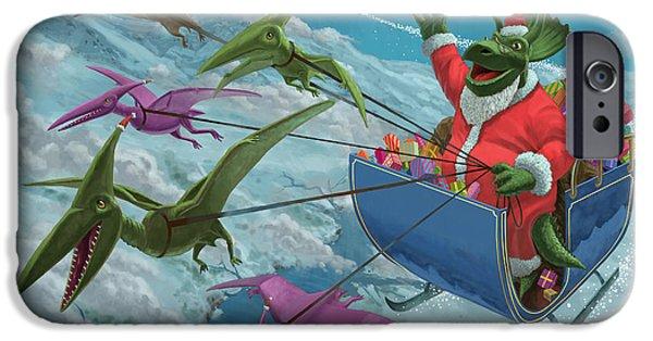 Christmas Eve iPhone Cases - Christmas Dinosaur Santa ride iPhone Case by Martin Davey