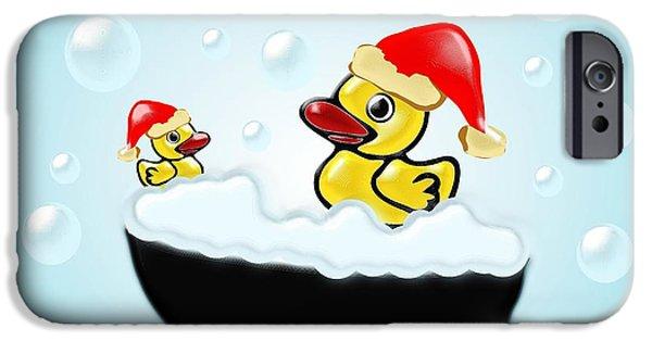 Large iPhone Cases - Christmas Ducks iPhone Case by Anastasiya Malakhova