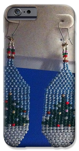 Christmas Jewelry iPhone Cases - Christmas Earrings iPhone Case by Kimberly Johnson