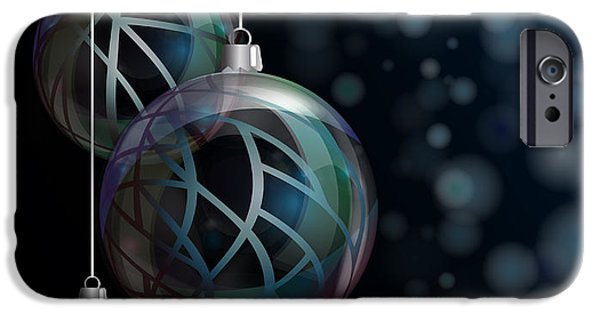 Abstract Style iPhone Cases - Christmas elegant glass baubles iPhone Case by Jane Rix