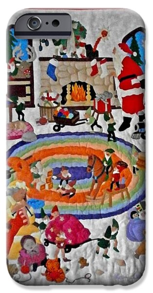 Santa Tapestries - Textiles iPhone Cases - Christmas Elves iPhone Case by Linda Egland