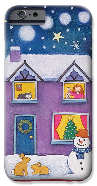 House iPhone Cases - Christmas Eve, 1997 Pastel On Paper iPhone Case by Cathy Baxter