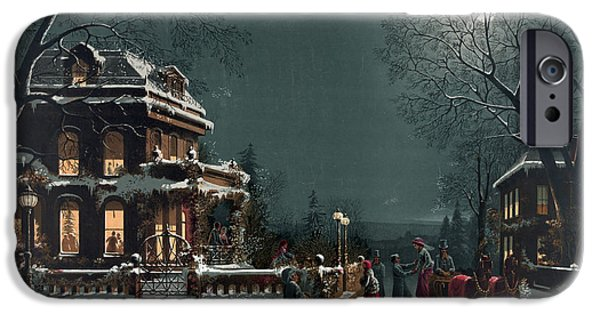 Horse And Buggy iPhone Cases - Christmas Eve Gathering iPhone Case by Photo Researchers