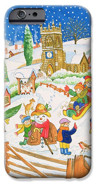 Tobogganing iPhone Cases - Christmas Eve In The Village Wc iPhone Case by Tony Todd