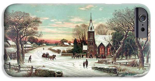 Horse And Buggy iPhone Cases - Christmas Eve Mass iPhone Case by Photo Researchers
