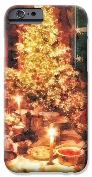 Christmas Eve Paintings iPhone Cases - Christmas Eve iPhone Case by Mo T