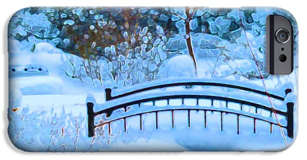 Snowscape Paintings iPhone Cases - Christmas Eve Storm and the Little Garden Bridge iPhone Case by Douglas MooreZart