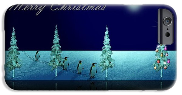 Christmas Eve iPhone Cases - Christmas Eve Walk of the Penguins  iPhone Case by David Dehner