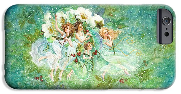 Fairies Paintings iPhone Cases - Christmas Fairies iPhone Case by Lynn Bywaters