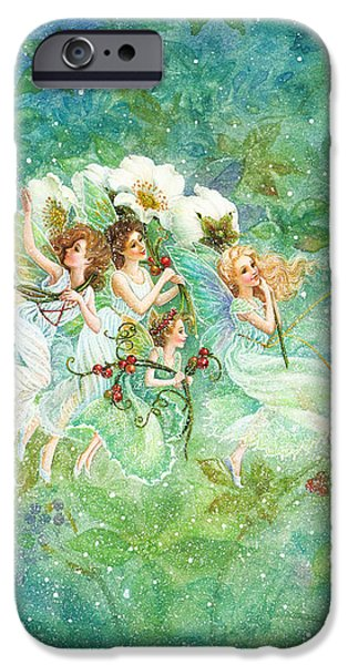 Christmas Fairies iPhone Case by Lynn Bywaters