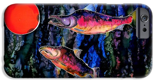 Animals Tapestries - Textiles iPhone Cases - Christmas Fish Surprise iPhone Case by Carolyn Doe