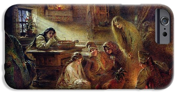 Destiny iPhone Cases - Christmas Fortune Telling Oil On Canvas iPhone Case by Konstantin Egorovich Makovsky