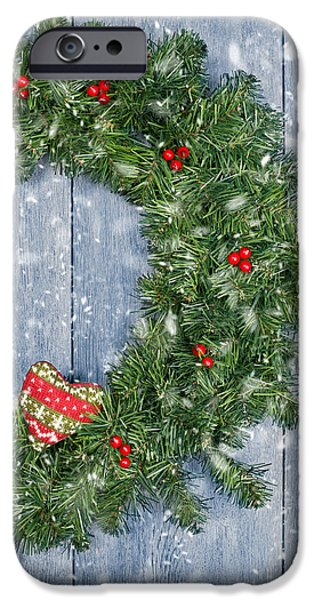 Wreath iPhone Cases - Christmas Garland iPhone Case by Amanda And Christopher Elwell
