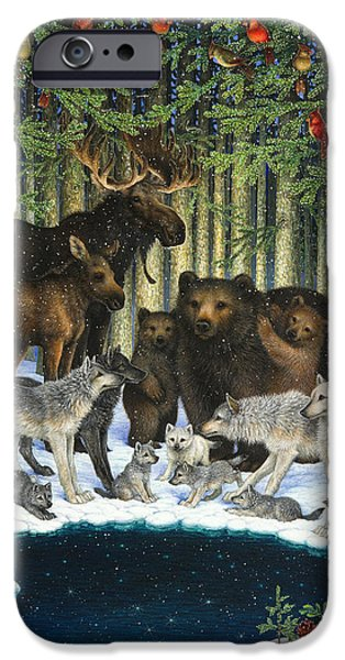 Wild Animals iPhone Cases - Christmas Gathering iPhone Case by Lynn Bywaters