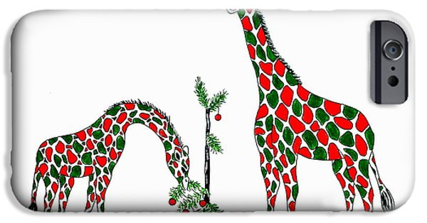 Christmas Greeting iPhone Cases - Christmas Giraffes iPhone Case by Jan Law