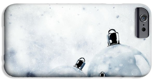 Winter Storm iPhone Cases - Christmas glass balls on winter vintage background iPhone Case by Michal Bednarek