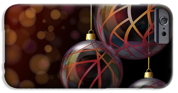 Abstract Style iPhone Cases - Christmas glass baubles iPhone Case by Jane Rix