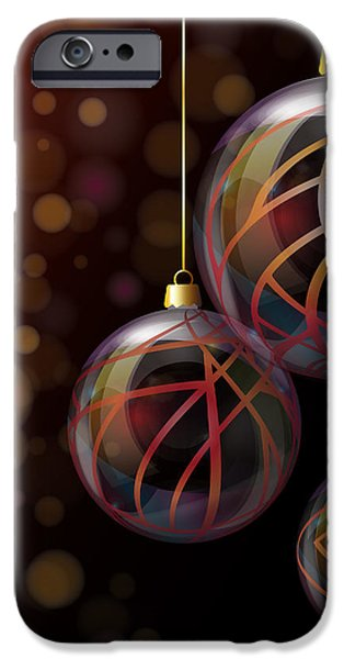 Christmas glass baubles iPhone Case by Jane Rix