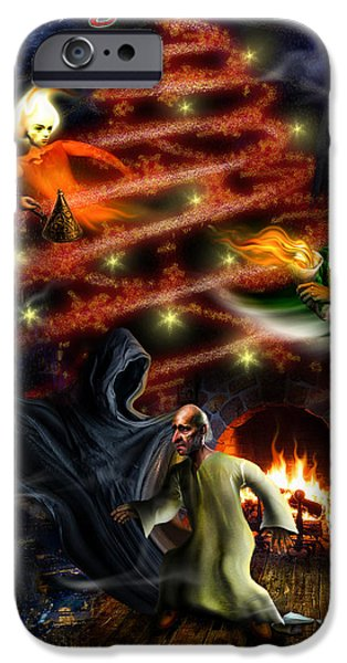 Scrooge iPhone Cases - Christmas greeting card iPhone Case by Alessandro Della Pietra