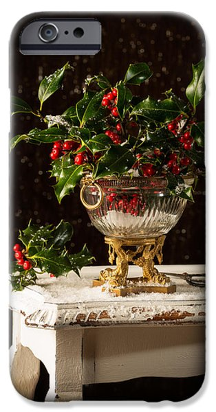 Berry iPhone Cases - Christmas Holly iPhone Case by Amanda And Christopher Elwell