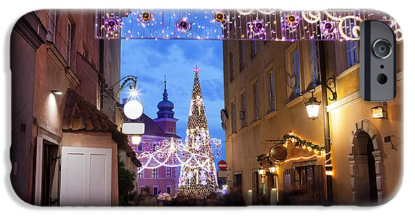 Night Lamp iPhone Cases - Christmas Illumination on Piwna Street in Warsaw iPhone Case by Artur Bogacki
