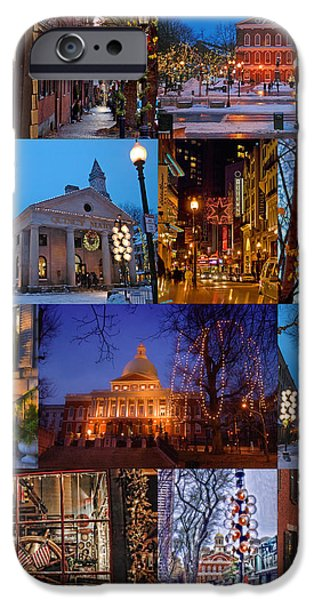 New England Snow Scene iPhone Cases - Christmas in Boston iPhone Case by Joann Vitali