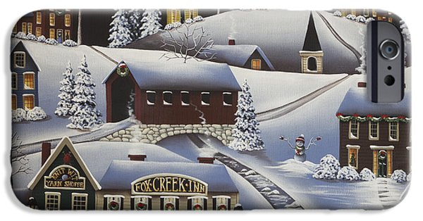 Covered Bridge Paintings iPhone Cases - Christmas in Fox Creek Village iPhone Case by Catherine Holman