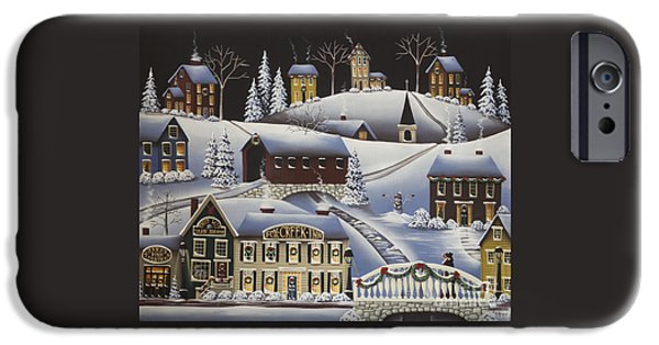 Covered Bridge iPhone Cases - Christmas in Fox Creek Village iPhone Case by Catherine Holman