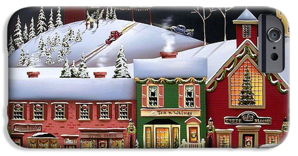 Village iPhone Cases - Christmas in Holly Ridge iPhone Case by Catherine Holman