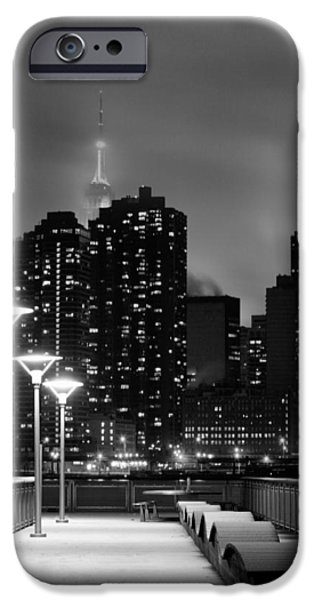 Snowy Night iPhone Cases - Christmas in NYC Black and White iPhone Case by JC Findley