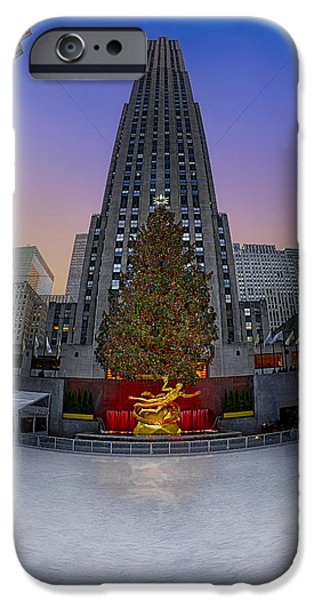 Sunset iPhone Cases - Christmas In NYC iPhone Case by Susan Candelario