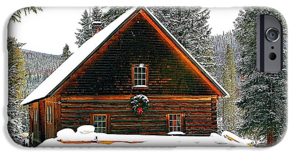 Red Barn In Winter iPhone Cases - Christmas in the Rockies iPhone Case by Steven Reed