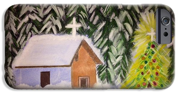 Snowy Pastels iPhone Cases - Christmas in the Woods iPhone Case by Renee Michelle Wenker