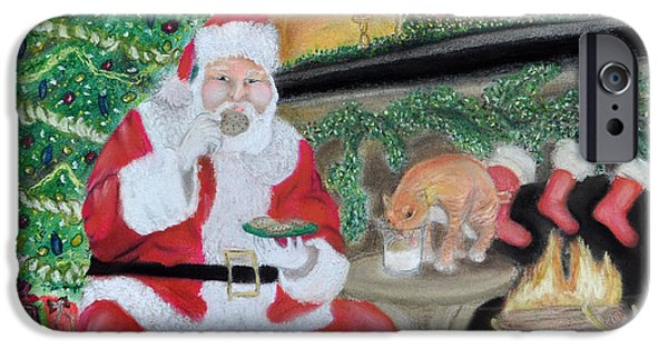 Santa Pastels iPhone Cases - Christmas is for Sharing 2 iPhone Case by Danae McKillop