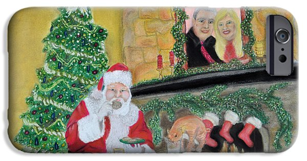Santa Pastels iPhone Cases - Christmas is for Sharing iPhone Case by Danae McKillop
