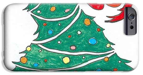 Christmas Eve Drawings iPhone Cases - Christmas Joy iPhone Case by Ralf Schulze