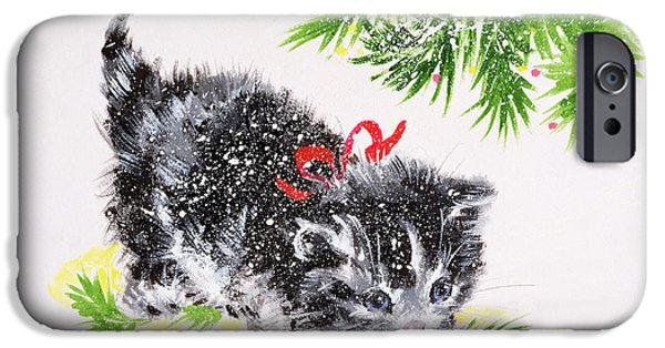 Baubles iPhone Cases - Christmas Kitten iPhone Case by Diane Matthes