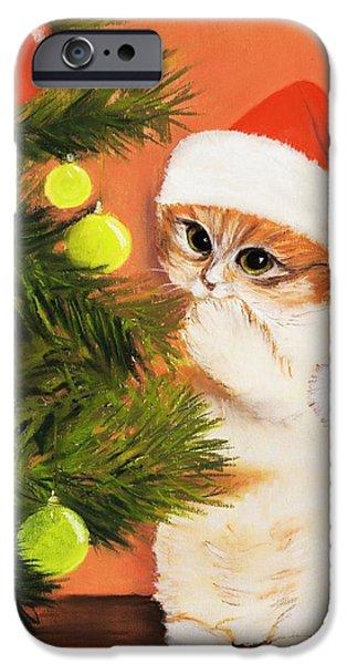 Christmas Kitty iPhone Case by Anastasiya Malakhova