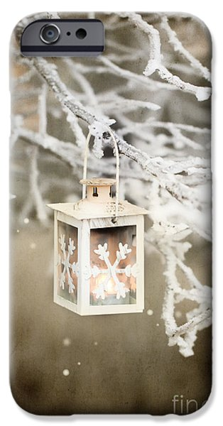 Winter Scene Pyrography iPhone Cases - Christmas lantern iPhone Case by Natasha Breen