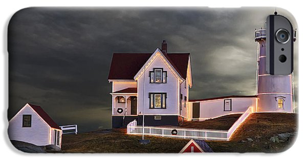 Nubble Lighthouse iPhone Cases - Christmas Light iPhone Case by Penny Pesaturo